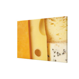 Close-up of cheese slices canvas print