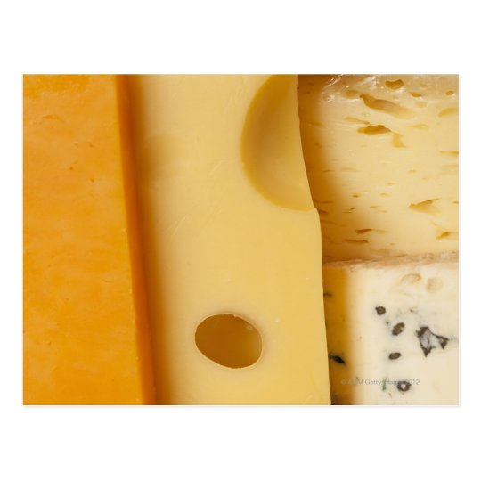 Close-up of cheese slices postcard