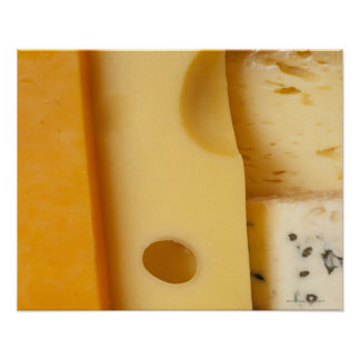 Close-up of cheese slices poster