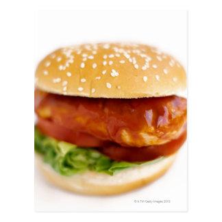 Close-up of chicken burger postcard