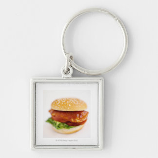 Close-up of chicken burger Silver-Colored square key ring