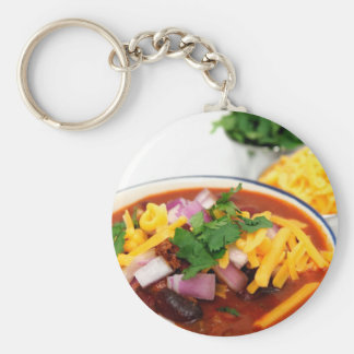 Close-up Of Chili Beans Basic Round Button Key Ring