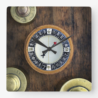 Close Up Of Chinese Compass And Gold Weights Wall Clock