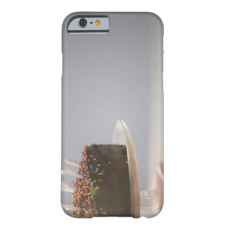 Close up of chocolate birthday cake with candles barely there iPhone 6 case