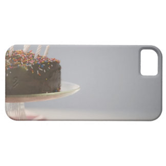 Close up of chocolate birthday cake with candles iPhone 5 case