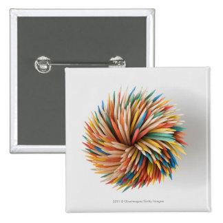 Close-up of colored pencils 15 cm square badge
