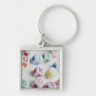 Close-up of cubes Silver-Colored square key ring