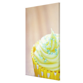 Close up of cup cake showing decoration canvas print