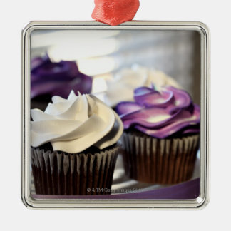 Close-up of cupcakes with selective focus on christmas ornament