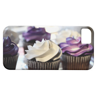 Close-up of cupcakes with selective focus on iPhone 5 cover