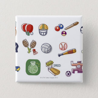 Close-up of different type of sports equipments 15 cm square badge