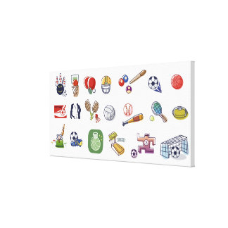 Close-up of different type of sports equipments canvas print