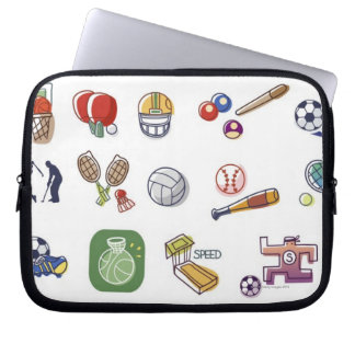 Close-up of different type of sports equipments laptop sleeve