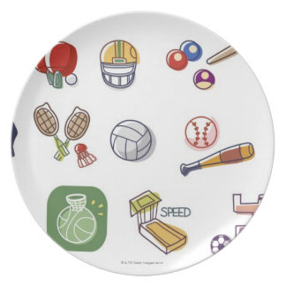Close-up of different type of sports equipments plate