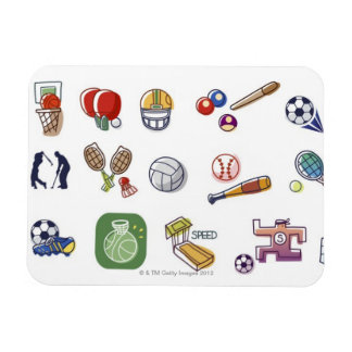 Close-up of different type of sports equipments rectangular photo magnet