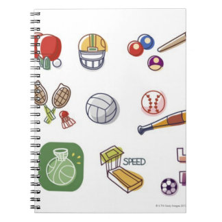 Close-up of different type of sports equipments spiral notebook