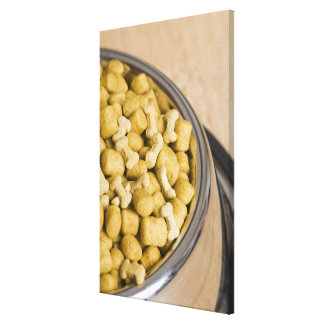 Close-up of dog food in a dog bowl canvas print