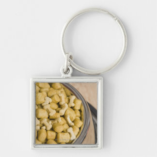 Close-up of dog food in a dog bowl Silver-Colored square key ring