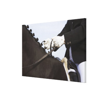 close-up of dressage horse with rider canvas print