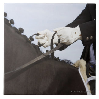 close-up of dressage horse with rider large square tile