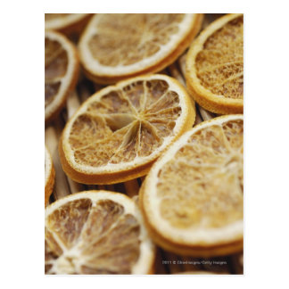 Close-up of dried slices of lemon postcard