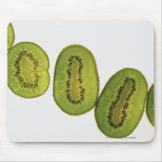 Close-up of five slices of kiwi fruit mouse pad