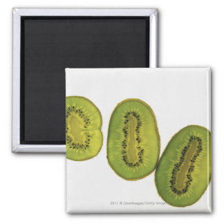 Close-up of five slices of kiwi fruit square magnet