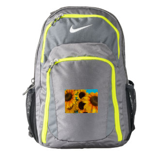 close-up of flowered sun  on Nike  Backpack, Backpack