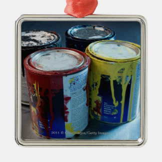 Close-up of four paint cans christmas ornament