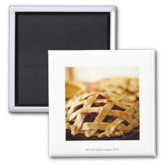 Close-up of fresh pie with lattice pattern crust magnet
