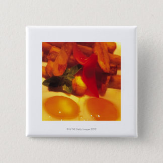 close-up of fried eggs with french fries 15 cm square badge