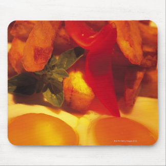 close-up of fried eggs with french fries mouse pad
