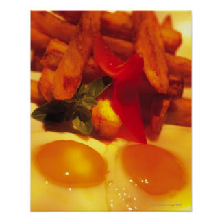 close-up of fried eggs with french fries print