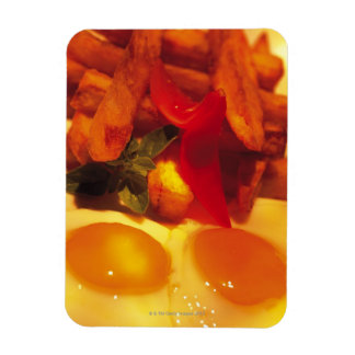 close-up of fried eggs with french fries rectangular photo magnet
