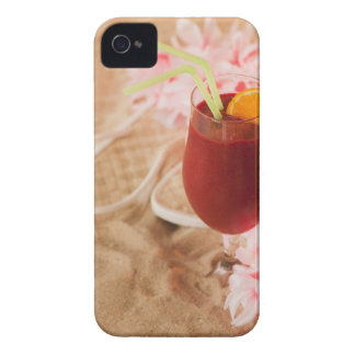 Close up of frozen drink and lei on sand iPhone 4 case