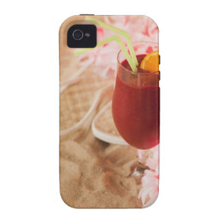 Close up of frozen drink and lei on sand Case-Mate iPhone 4 cover