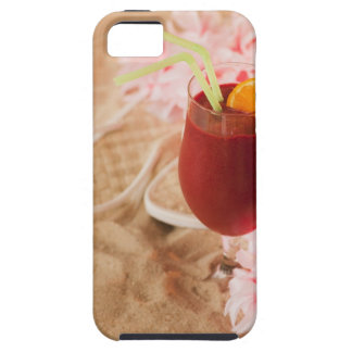 Close up of frozen drink and lei on sand iPhone 5 cover