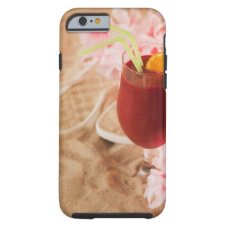 Close up of frozen drink and lei on sand tough iPhone 6 case