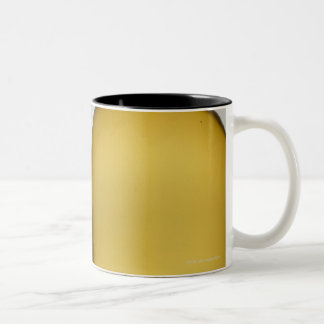 Close up of glass of white wine and wine bottle Two-Tone coffee mug