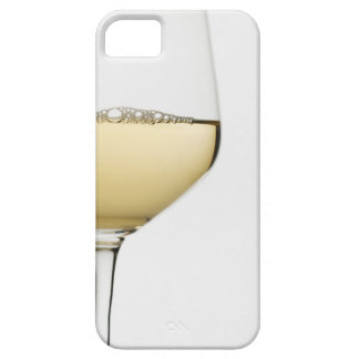 Close up of glass of white wine on white iPhone 5 cover
