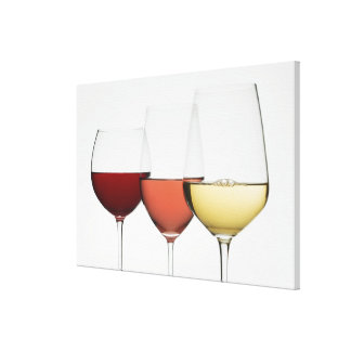 Close up of glasses of different wines gallery wrap canvas