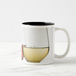 Close up of glasses of different wines Two-Tone coffee mug