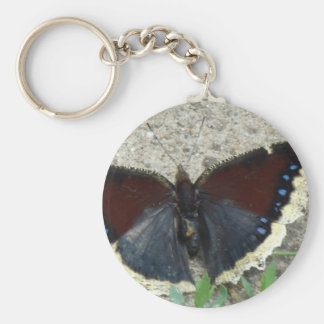 Close up of Gorgeous Mourning Cloak Butterfly Basic Round Button Key Ring