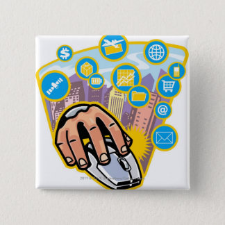 Close-up of hand on computer mouse 15 cm square badge