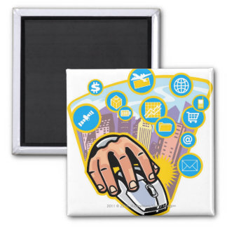 Close-up of hand on computer mouse square magnet
