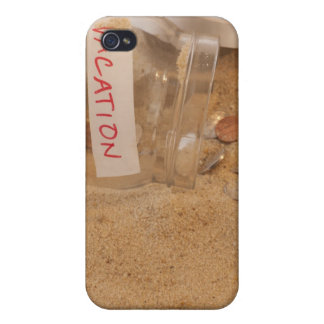 Close up of jar with coins spilled on sand case for iPhone 4