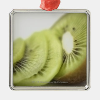 Close-up of kiwi slices Silver-Colored square decoration