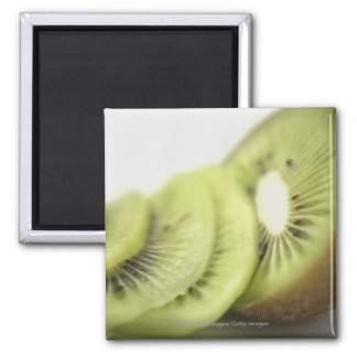 Close-up of kiwi slices square magnet