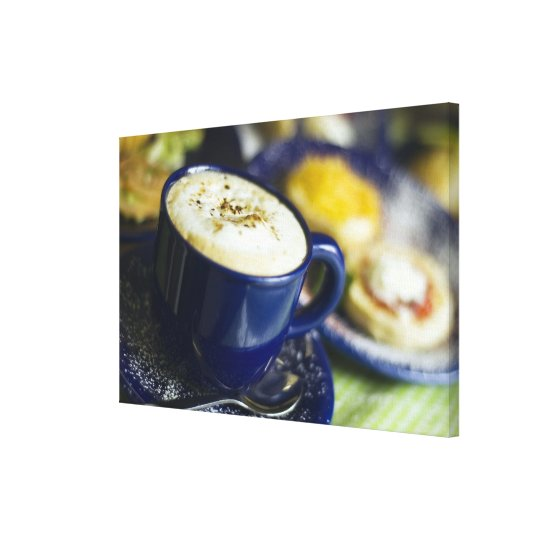 Close-up of latte on table canvas print