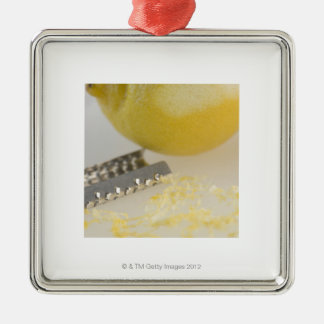 Close-up of lemon and grater christmas ornament